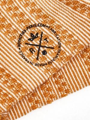 Chaussettes en rayures jacquard ocre et ivoire