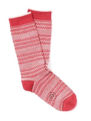 Chaussettes en rayures jacquard rouge et ivoire