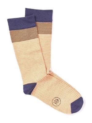 Chaussettes à fines rayures marinières ocre et marine