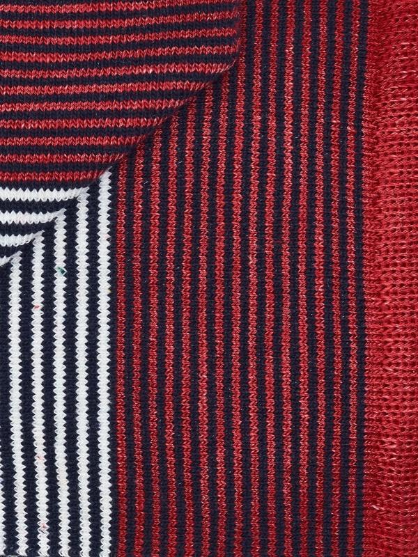 Chaussettes à fines rayures marinières rouge et marine