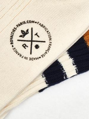 Chaussettes de sport ivoire à larges rayures marine et ocre
