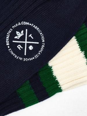 Chaussettes de sport marine à larges rayures ivoire et vertes