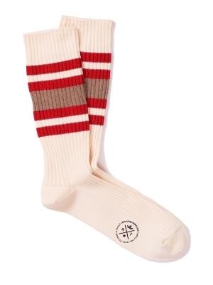 Chaussettes de sport ivoire à larges rayures rouges et beiges