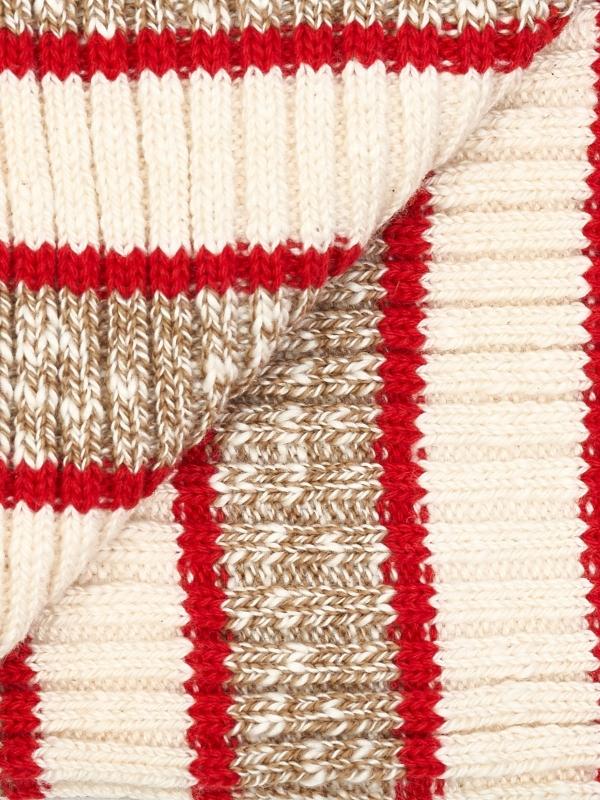 Chaussettes ivoire à côtes et à large rayures beige chiné et rouges