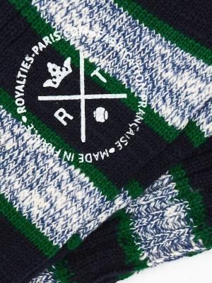 Chaussettes marine à côtes et à large rayures bleu chiné et vertes
