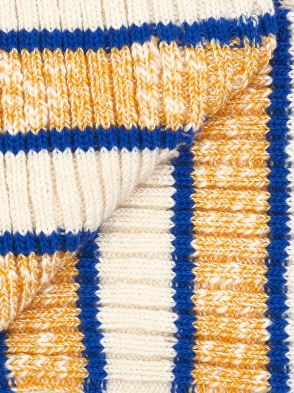 Chaussettes ivoire à côtes et à large rayures ocre chiné et bleues