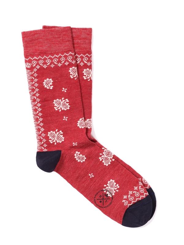 Chaussettes extrafines en bandana rouges