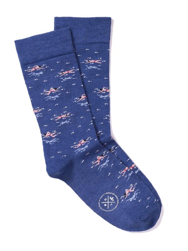 Chaussettes bleues à motifs de nageur