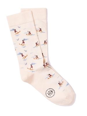 Chaussettes ivoire à motifs de jeux nautiques