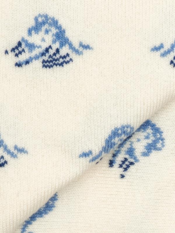 Chaussettes ivoire à motifs de vague