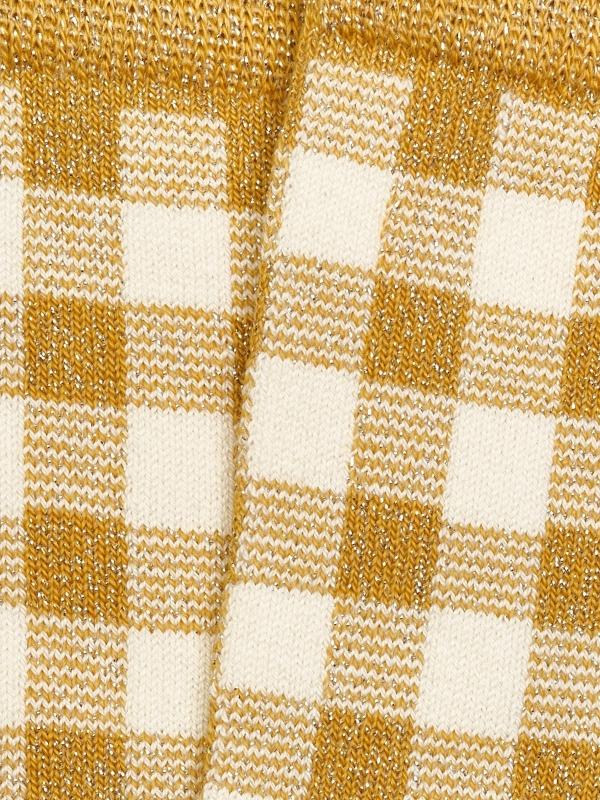 Chaussettes brillantes en vichy ocre