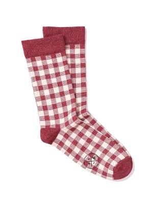 Chaussettes brillantes en vichy rouge