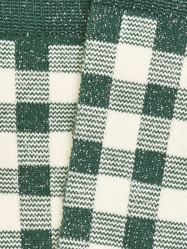 Chaussettes brillantes en vichy vert