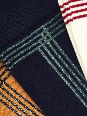 Chaussettes marine à décor de frise verte brillante