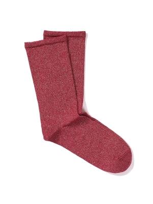 Chaussettes rouges unies et brillantes