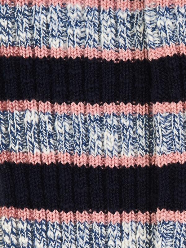 Chaussettes marine à côtes et à rayures club bleu chiné et roses