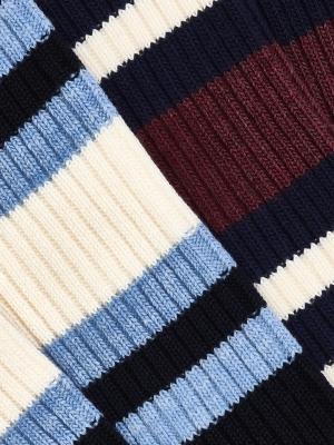Chaussettes hautes marine à larges rayures sport ivoire et bleu ciel