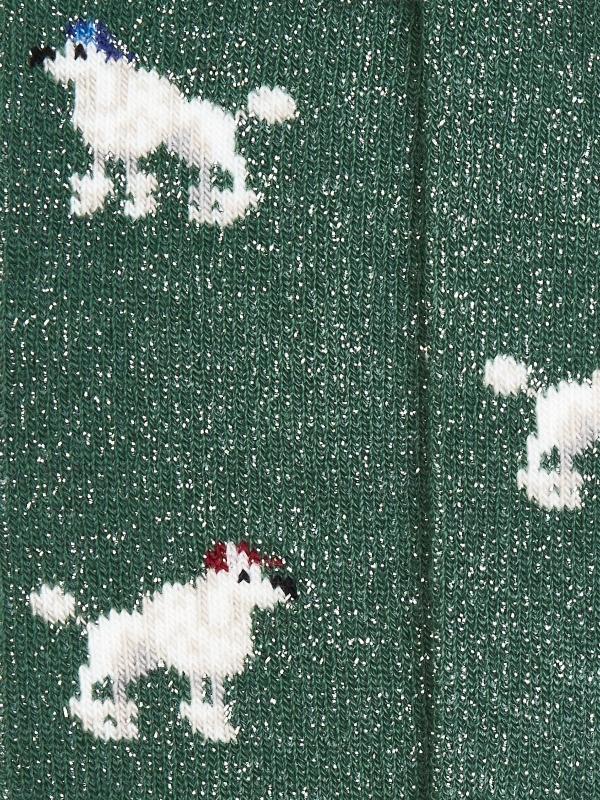 Chaussettes vertes brillantes à motifs de caniche
