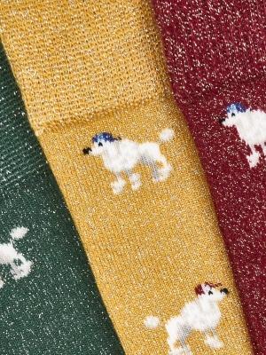 Chaussettes ocre brillantes à motifs de caniche
