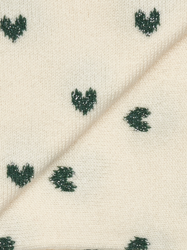 Chaussettes ivoire à motifs de cœurs brillants verts