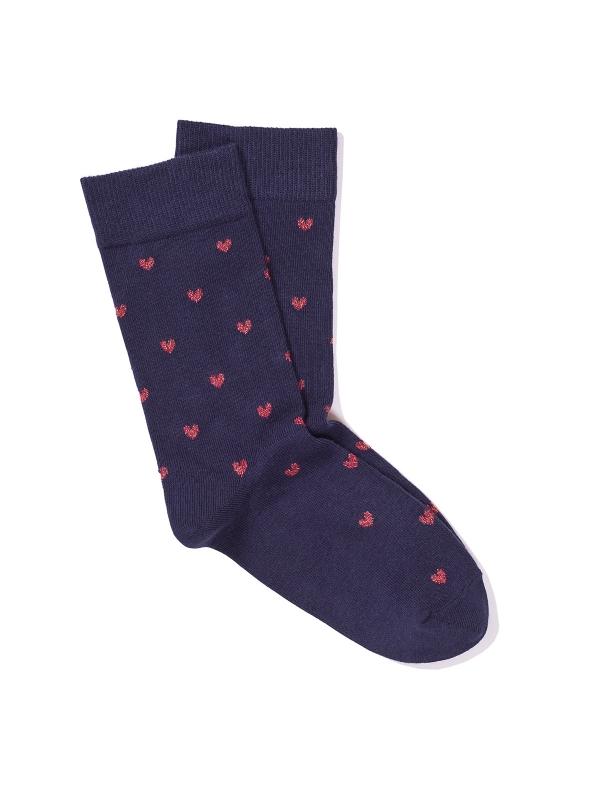 Chaussettes marine à motifs de cœurs brillants rouges