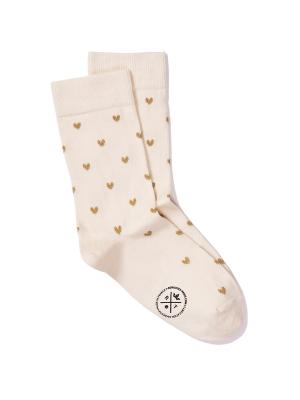 Chaussettes ivoire à motifs de cœurs brillants ocre