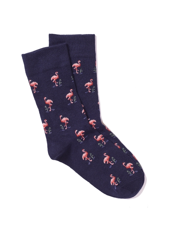 Chaussettes extrafines marine à motifs de flamants roses