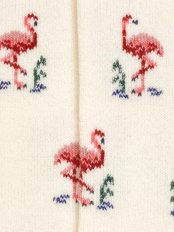 Chaussettes extrafines ivoire à motifs de flamants roses