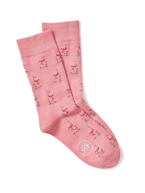 Chaussettes extrafines roses à motifs de flamants roses