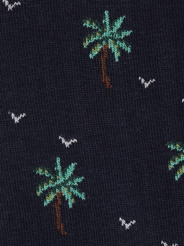 Chaussettes extrafines marine à motifs de palmiers