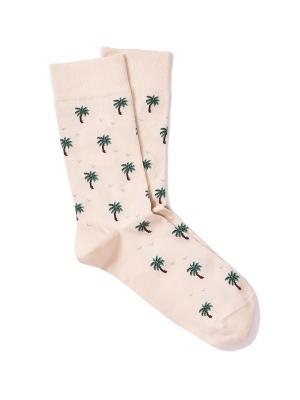 Chaussettes extrafines ivoire à motifs de palmiers