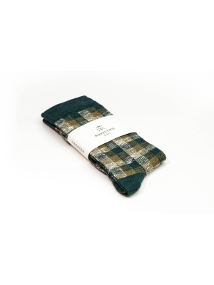 Chaussettes en vichy tricolore kaki et vert