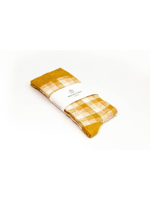 Chaussettes en vichy tricolore ocre et ivoire