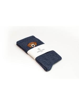 Chaussettes campus bleues à côtes ornées d'une tête de Beagle