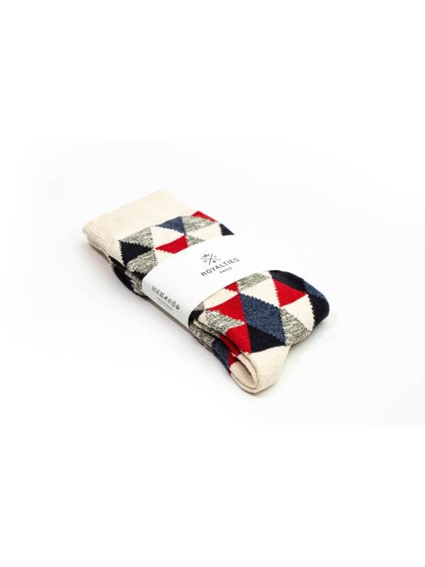Chaussettes en patchwork dans des tons naturel