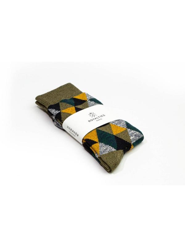 Chaussettes en patchwork dans des tons kaki