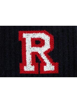 Chaussettes campus marine à côtes siglées d'un R