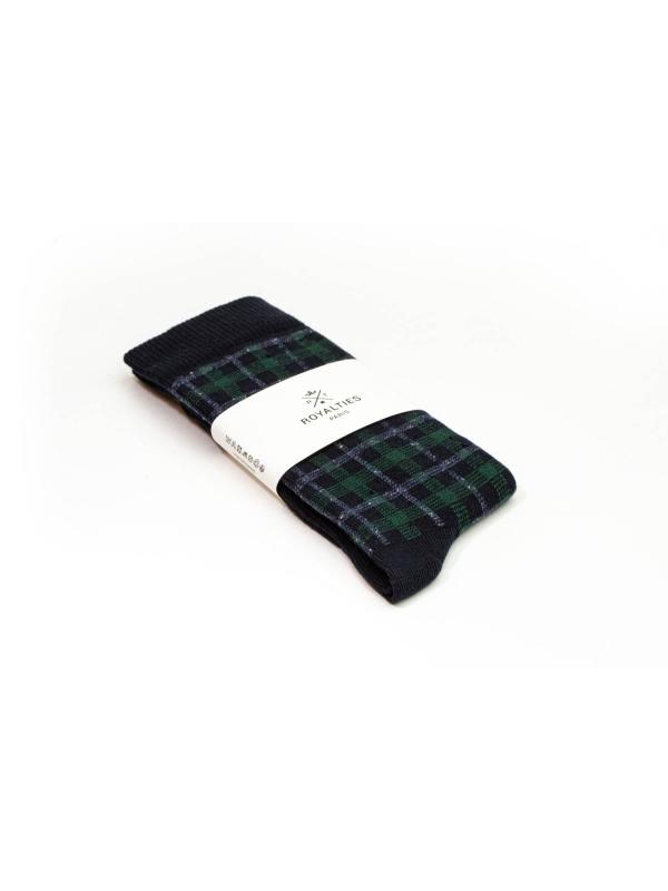 Chaussettes à carreaux « mouchoirs » marine et vert