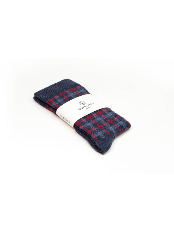 Chaussettes à carreaux « mouchoirs » bleues et rouges