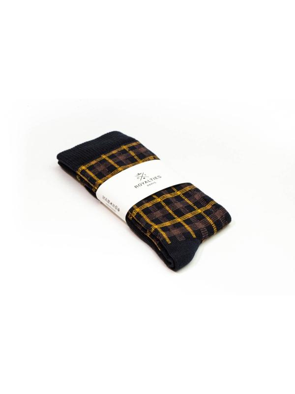 Chaussettes à carreaux « mouchoirs » marine et ocre