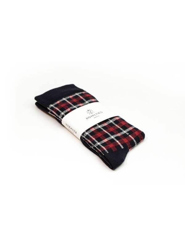 Chaussettes à carreaux « mouchoirs » marine et rouge