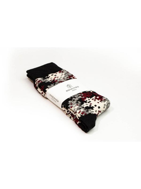 Chaussettes camouflage noir et bordeaux