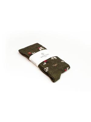 Chaussettes à motifs de vénerie fin 19ème sur fond kaki