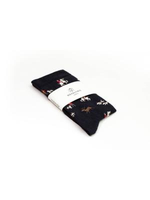 Chaussettes à motifs de vénerie fin 19ème sur fond marine
