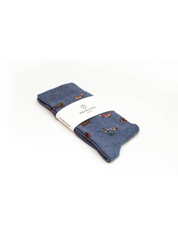 Chaussettes à motifs d'animaux de la forêt sur fond bleu