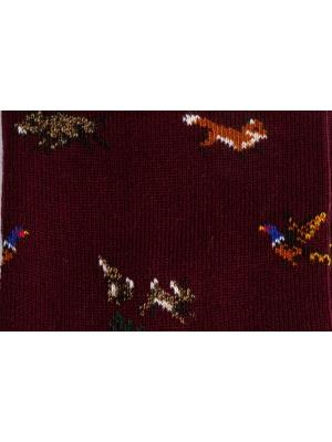 Chaussettes à motifs d'animaux de la forêt sur fond bordeaux