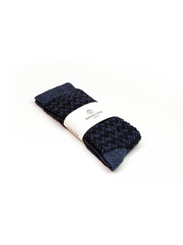 Chaussettes bleues à chevrons
