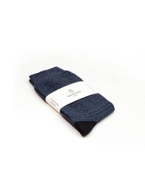 Chaussettes 3 fils bleues en point de Guernesey avec talon et pointe contrastés