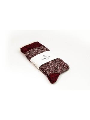 Chaussettes bicolores bordeaux et écru avec filet ocre sur le bord côtes