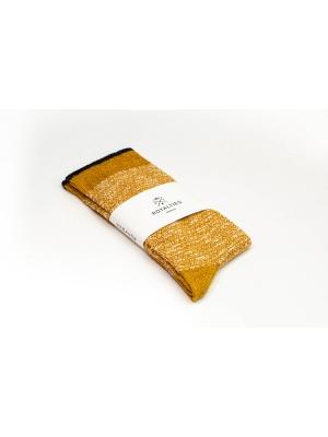 Chaussettes bicolores ocres et écrues avec filet marine sur le bord côtes